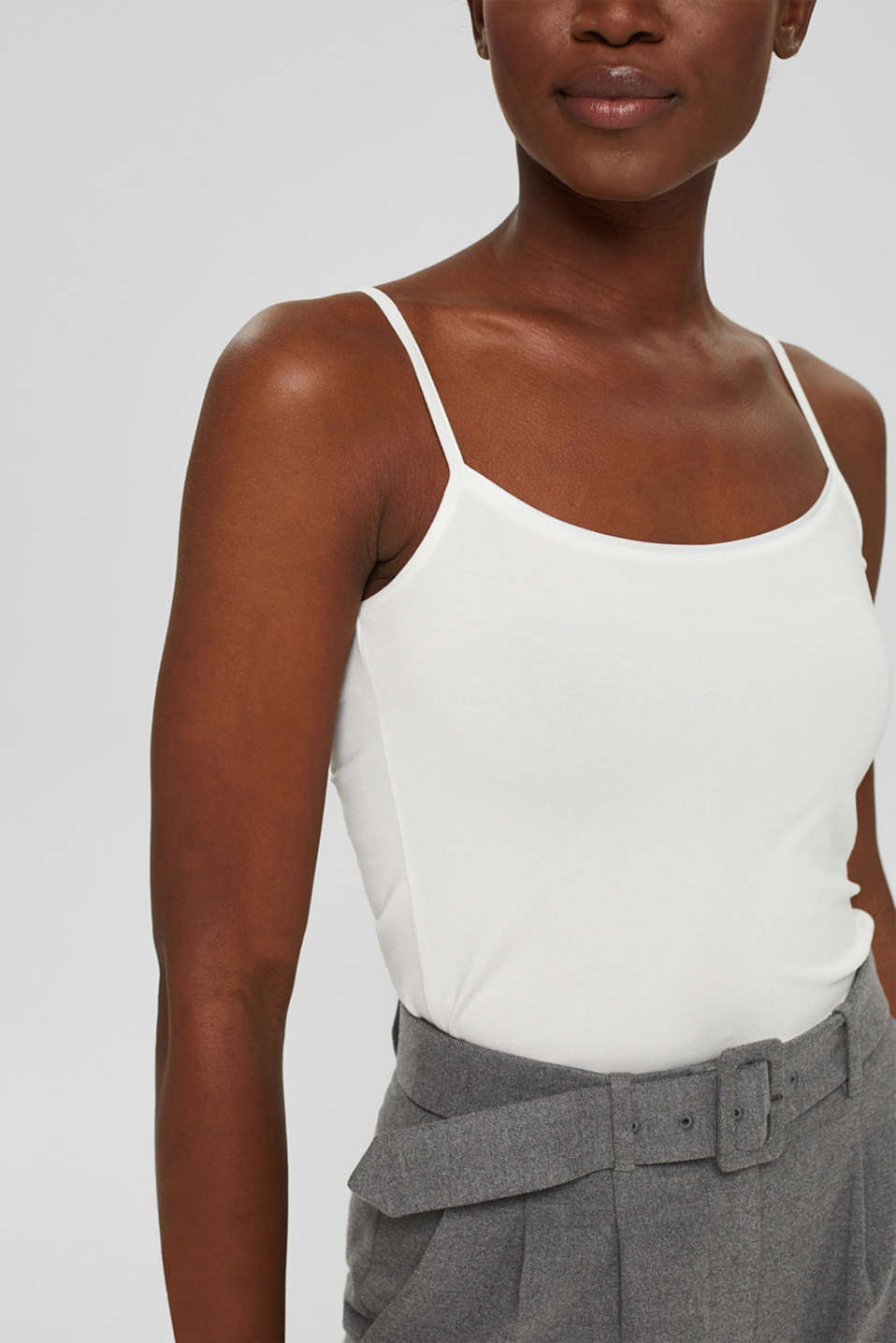 Stretch top with satin trim, OFF WHITE, detail image number 2