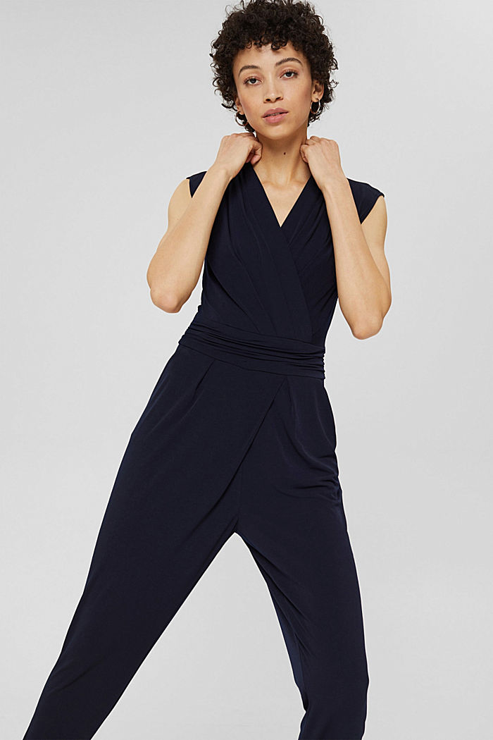 Wrap jumpsuit made of stretch jersey, NAVY, detail image number 0