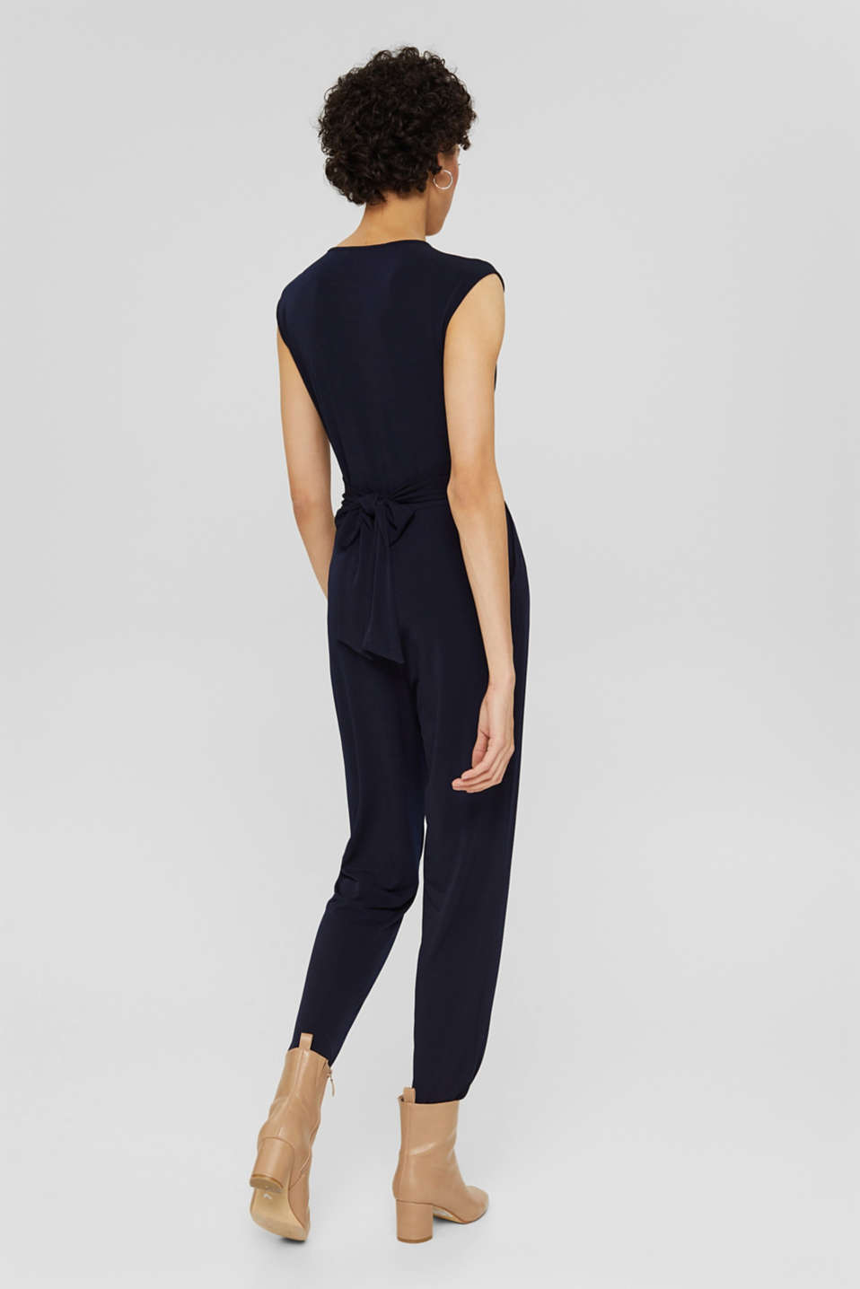 Wrap jumpsuit made of stretch jersey, NAVY, detail image number 2