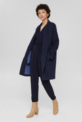 Wrap jumpsuit made of stretch jersey, NAVY, detail