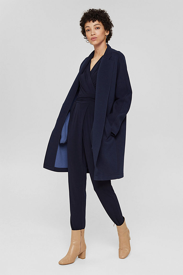 Wrap jumpsuit made of stretch jersey, NAVY, detail image number 1