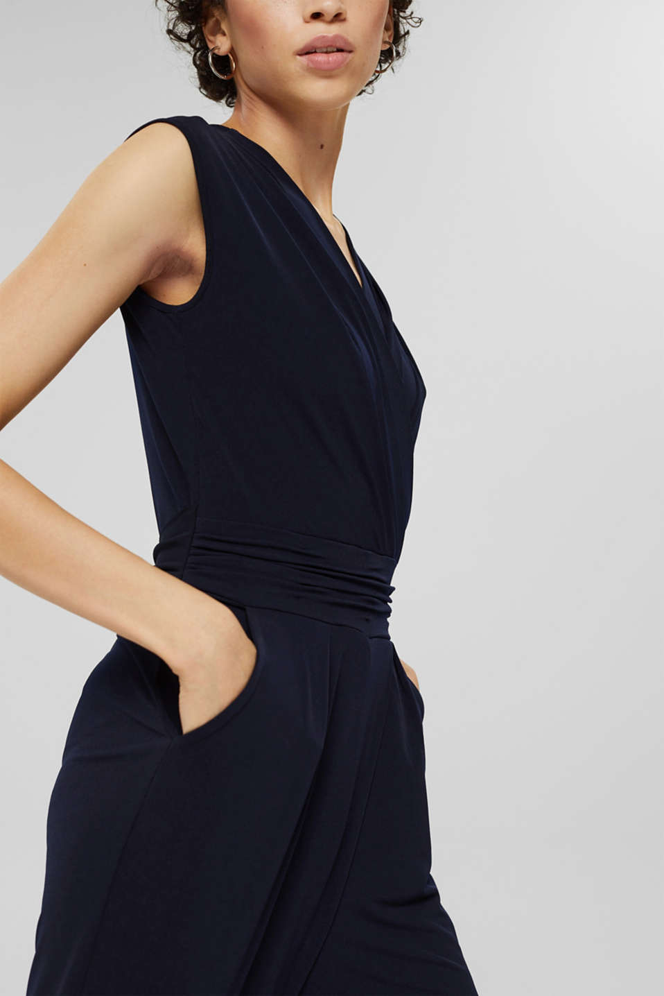 Wrap jumpsuit made of stretch jersey, NAVY, detail image number 3