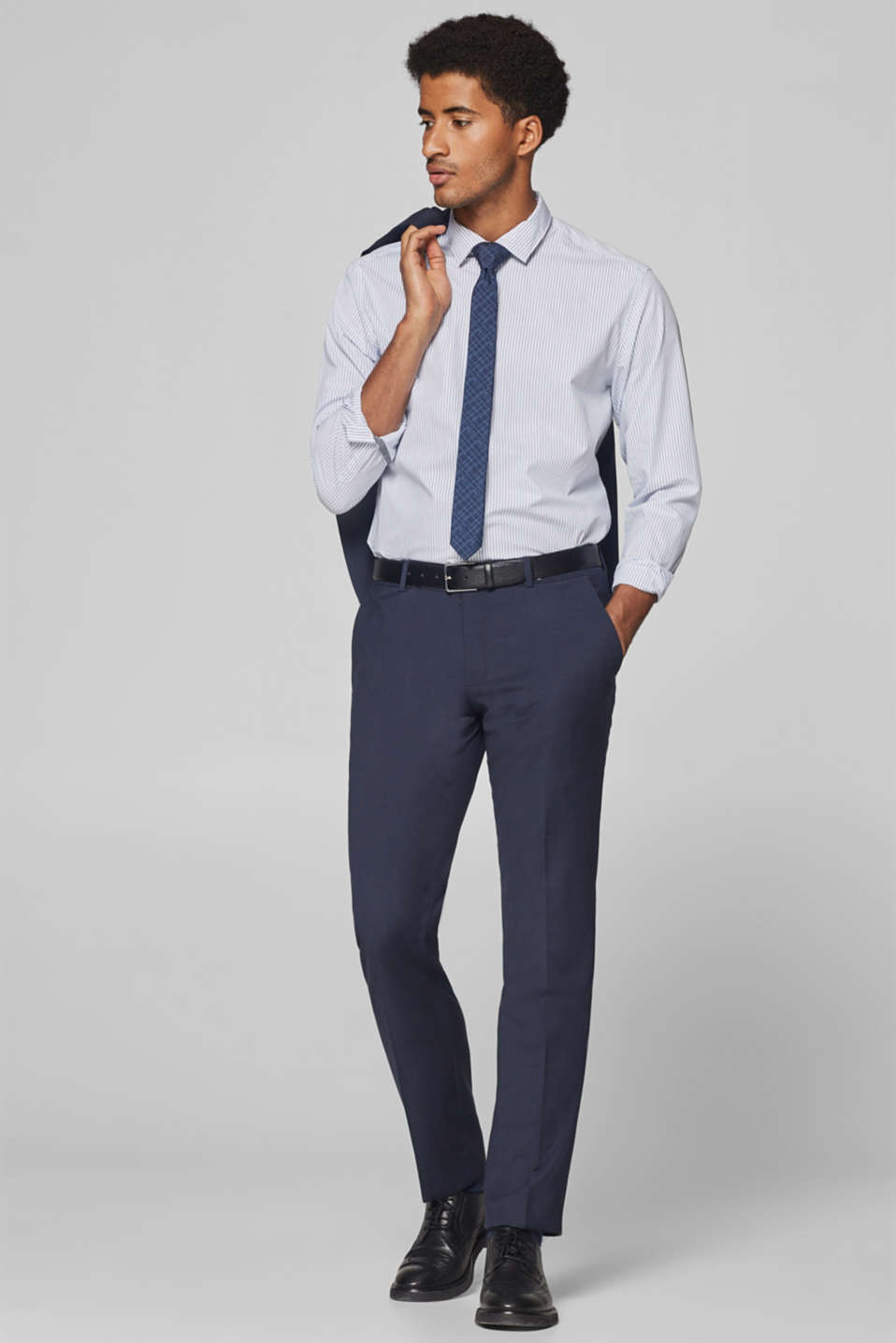 Esprit - Textured blended wool suit trousers