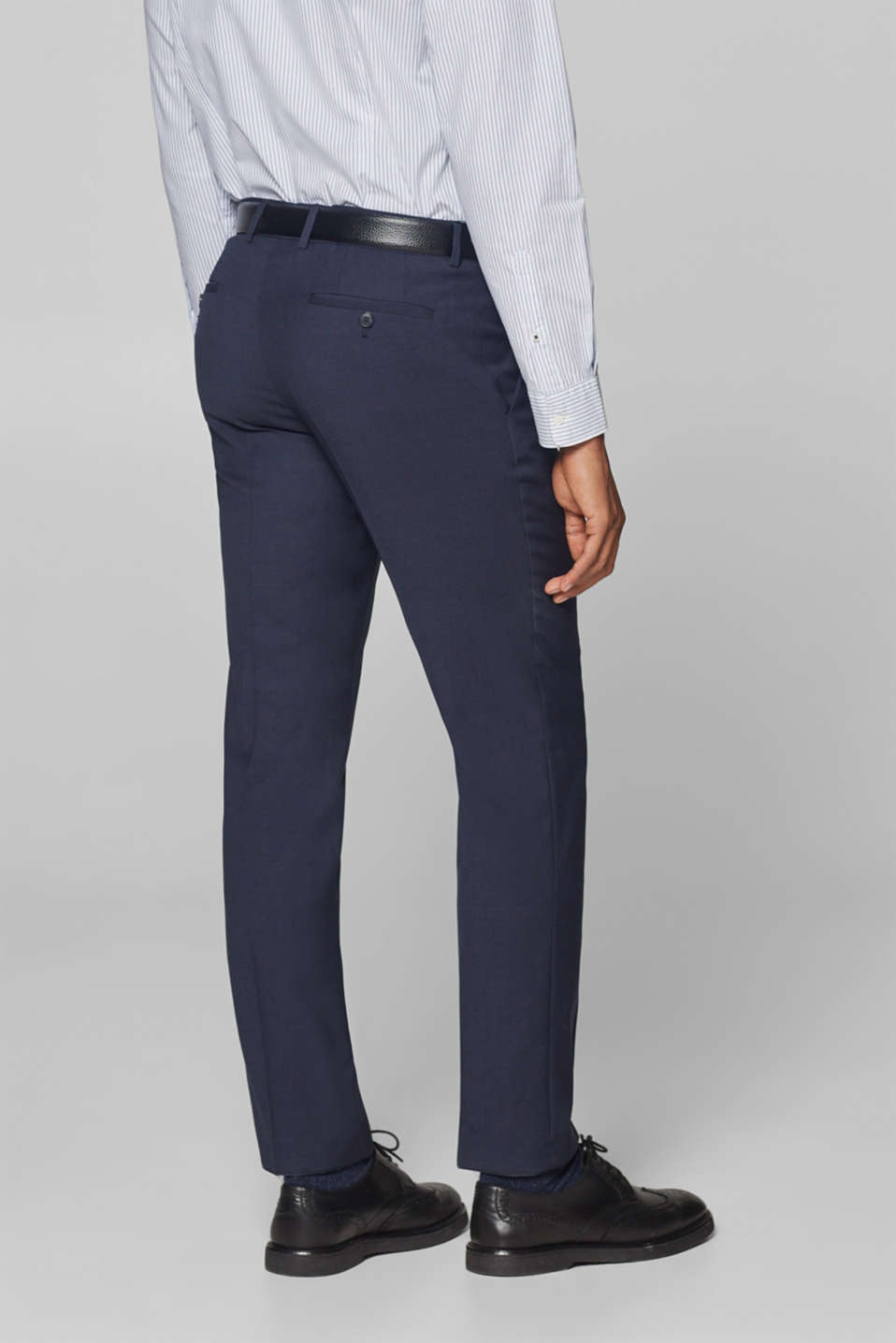 Textured blended wool suit trousers