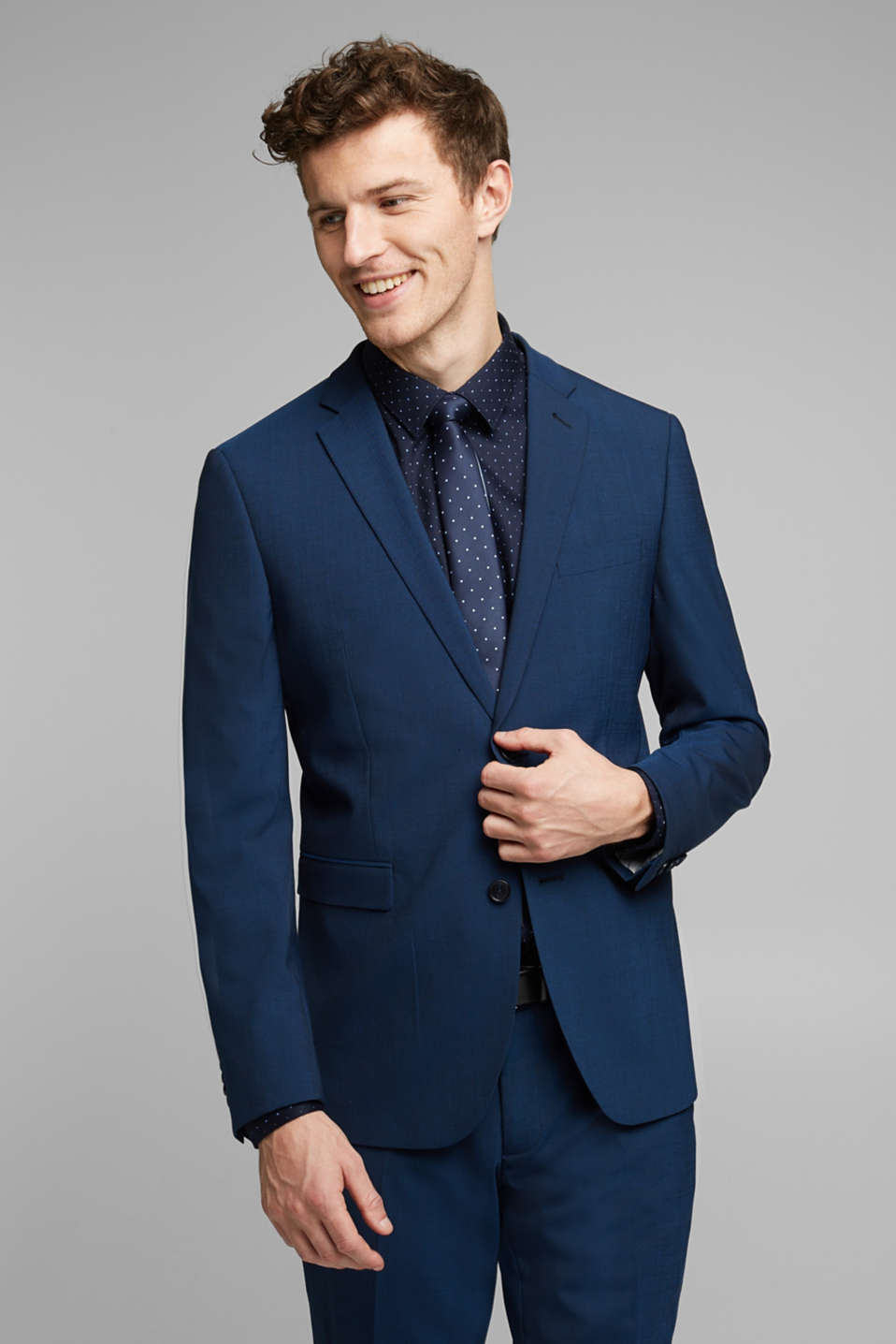 Esprit - Two-tone blazer in soft blended wool