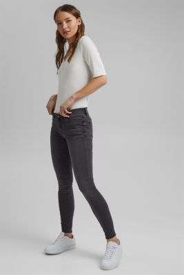 Super stretch jeans in a recycled material mix, GREY MEDIUM WASH, detail