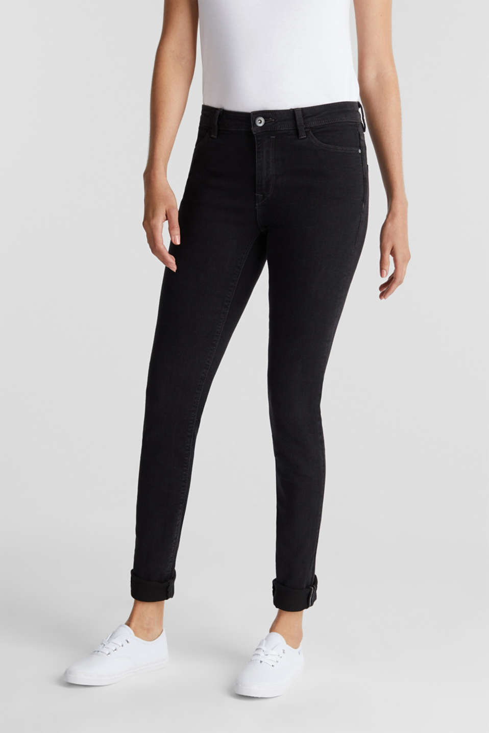 Organic cotton blend jeggings, BLACK RINSE, detail image number 0
