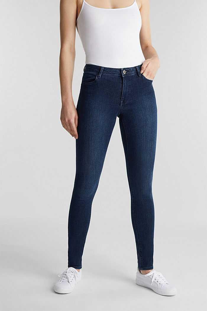 Organic cotton blend jeggings, BLUE DARK WASHED, detail image number 0