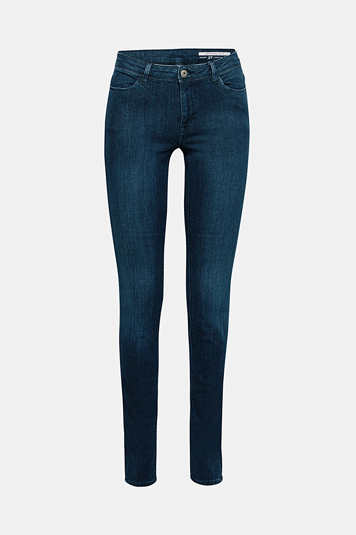 Organic cotton blend jeggings, BLUE DARK WASHED, detail image number 7