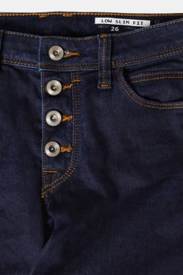 Stretch jeans with button fly, organic cotton