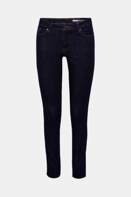 Stretch jeans in dark denim made with organic cotton, BLUE RINSE, detail