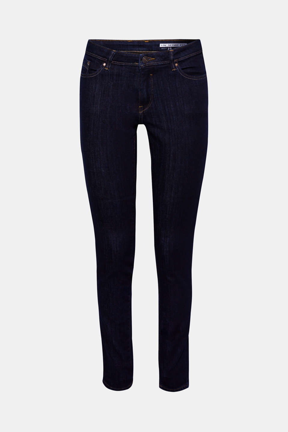 Stretch jeans in dark denim made with organic cotton, BLUE RINSE, detail image number 6