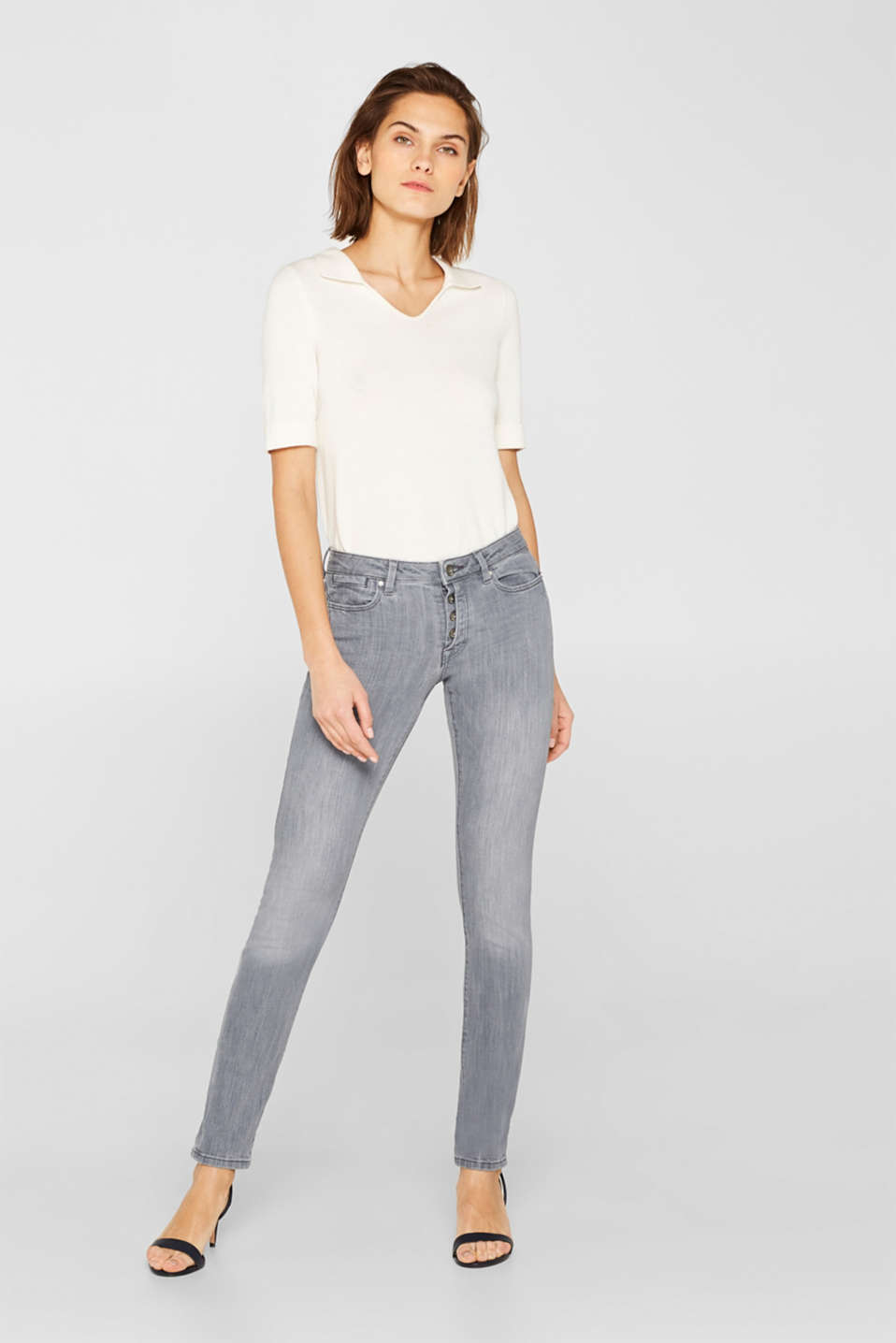 edc - Stretch jeans with a half concealed button placket