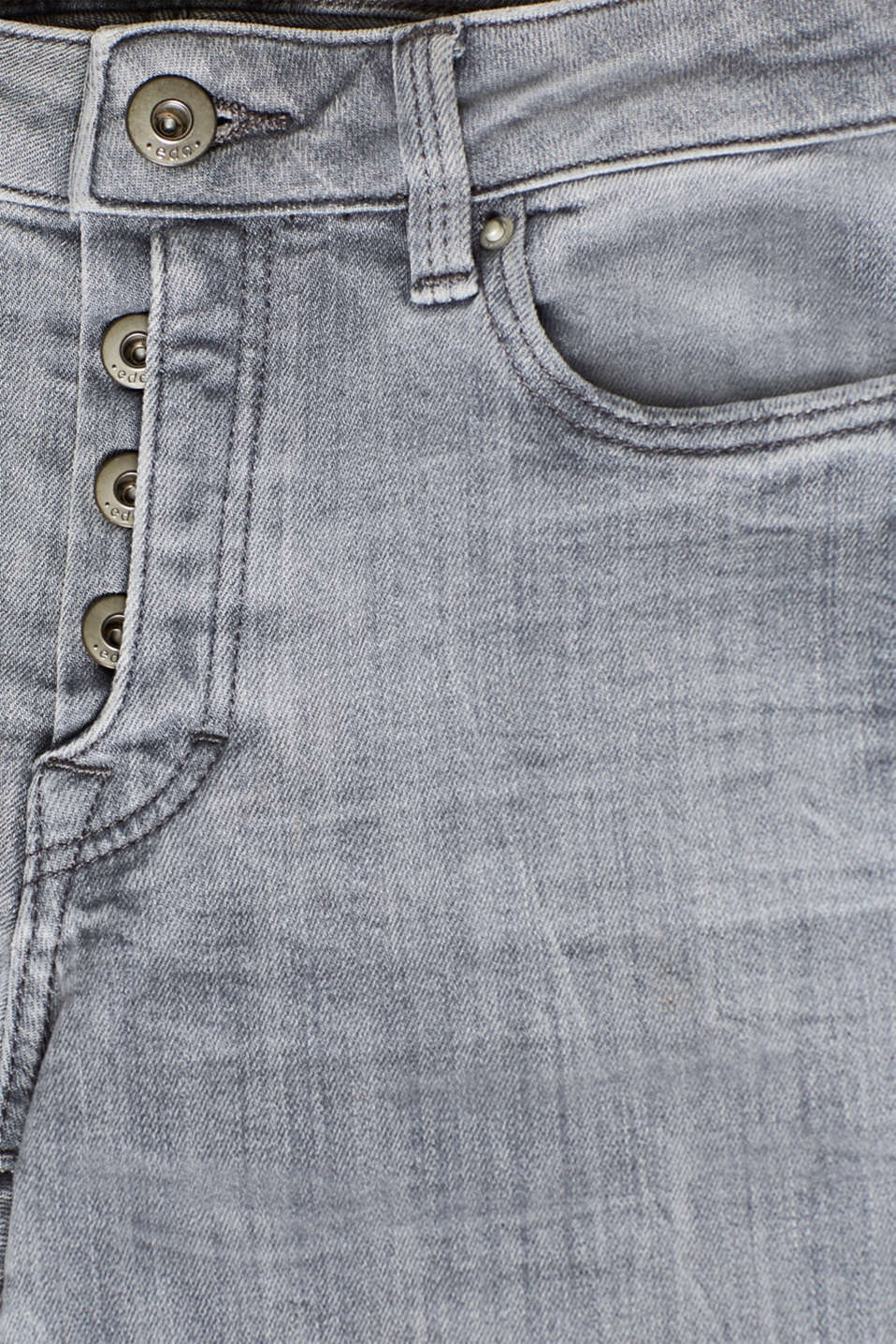 Stretch jeans with a half concealed button placket, GREY MEDIUM WASH, detail image number 4
