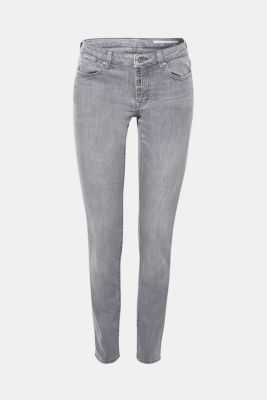 Stretch jeans with a half concealed button placket, GREY MEDIUM WASH, detail
