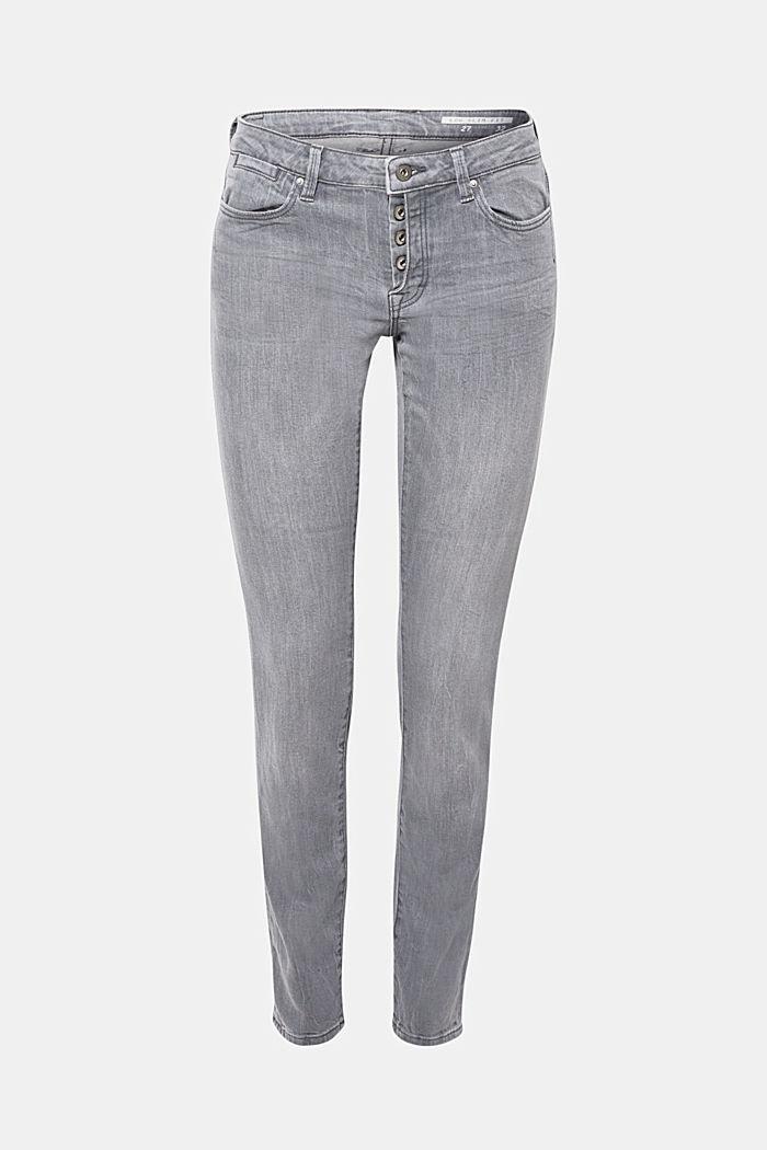 Stretch-Jeans mit halb verdeckter Knopfleiste, GREY MEDIUM WASHED, detail image number 0