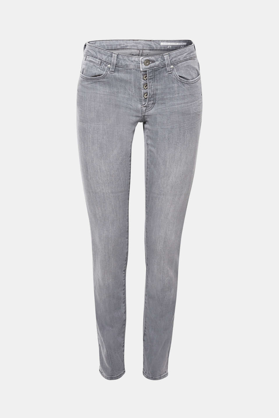 Stretch jeans with a half concealed button placket, GREY MEDIUM WASH, detail image number 7