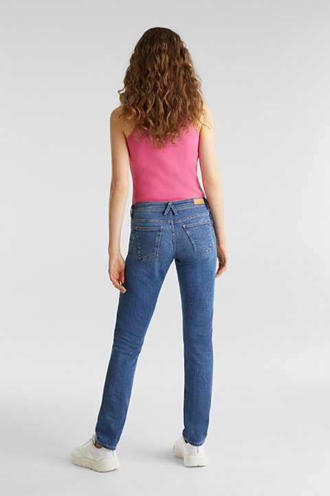 Recycled stretch jeans with whiskering