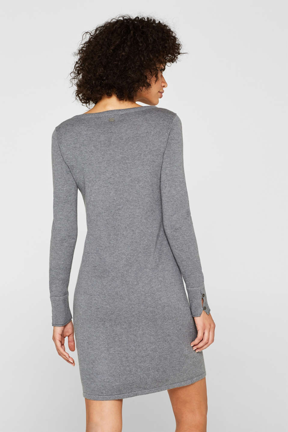 Fine knit dress with organic cotton, GUNMETAL 5, detail image number 2