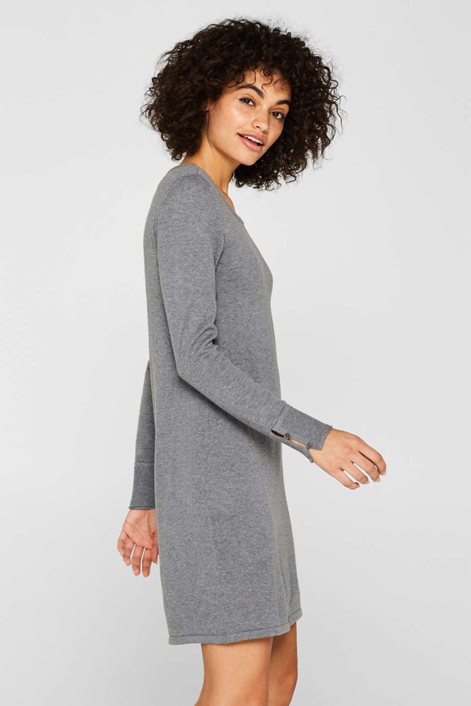 Fine knit dress with organic cotton, GUNMETAL 5, detail image number 4