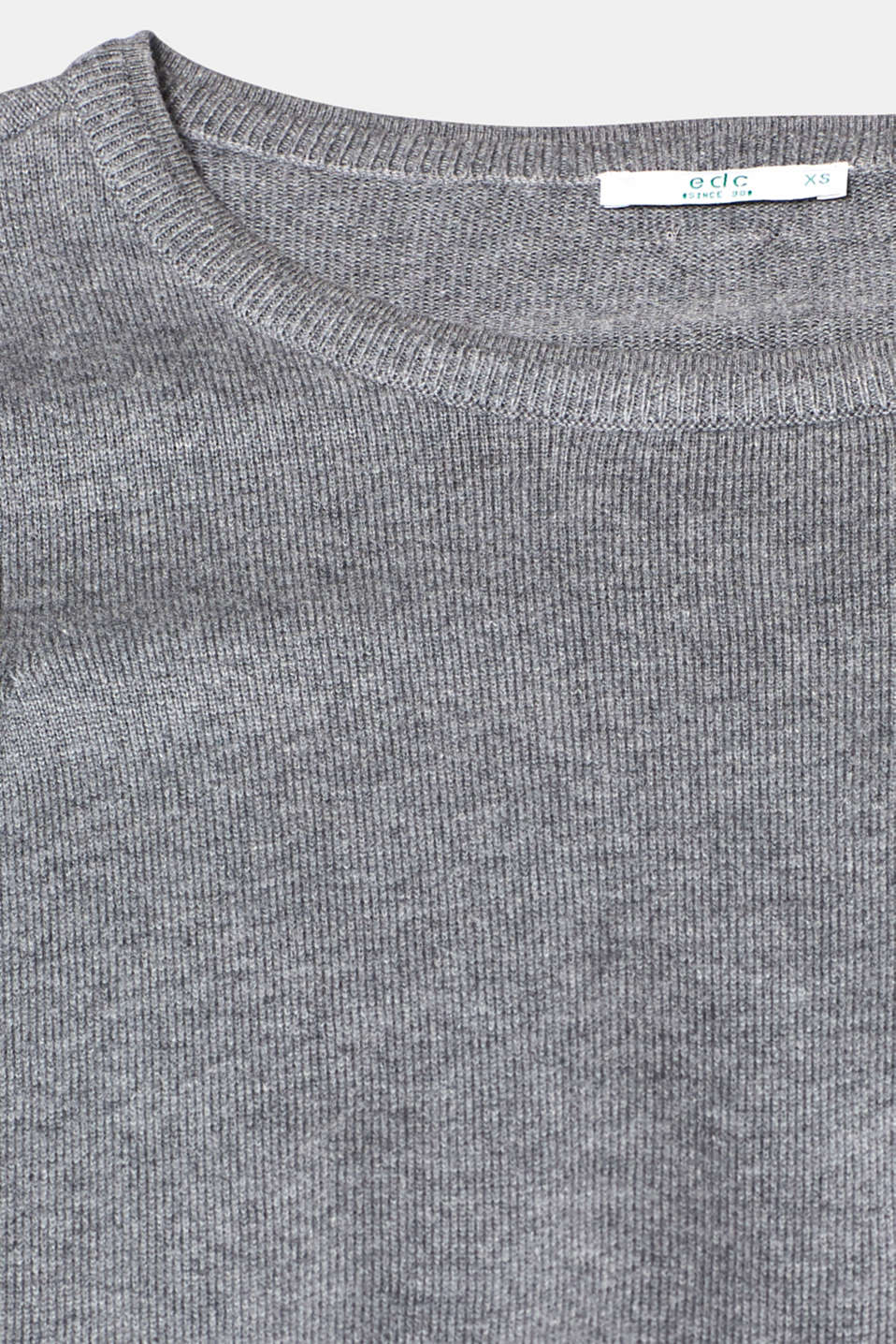 Fine knit dress with organic cotton, GUNMETAL 5, detail image number 5
