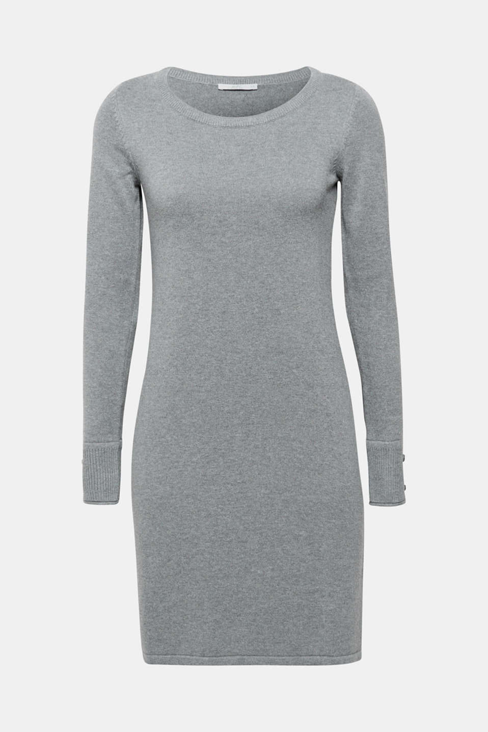 Fine knit dress with organic cotton, GUNMETAL 5, detail image number 7