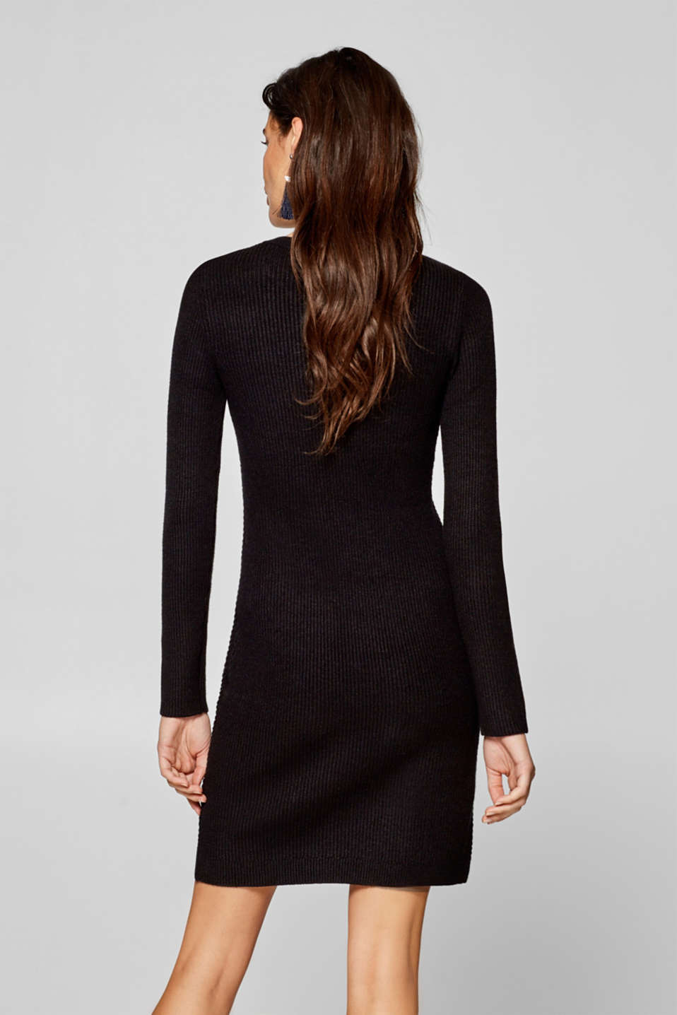 Knitted dress with a ribbed texture, BLACK, detail image number 2
