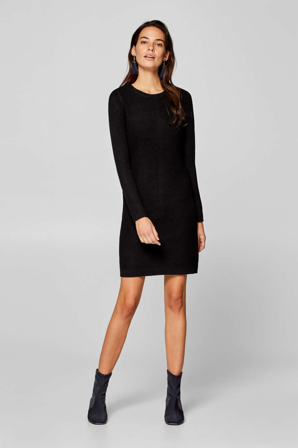 Knitted dress with a ribbed texture, BLACK, detail image number 1