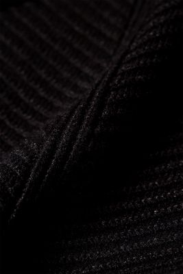 Knitted dress with a ribbed texture, BLACK, detail