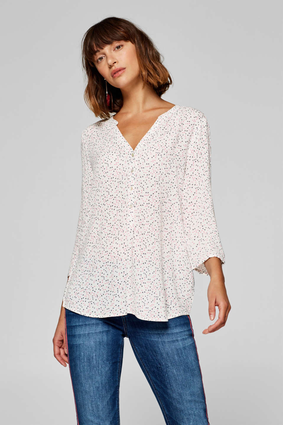 edc - Henley blouse with a mini print