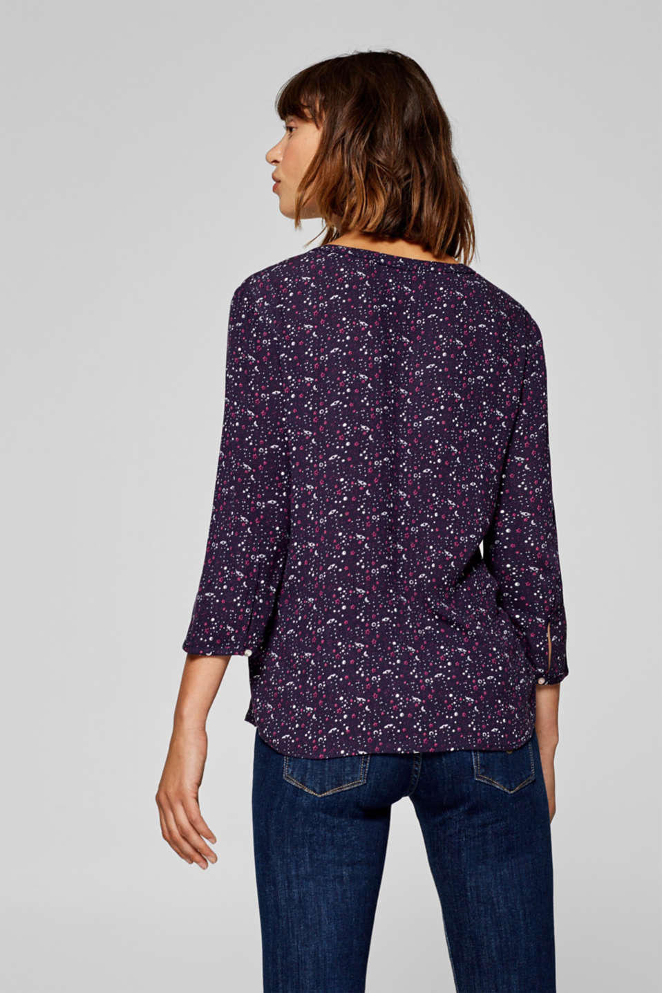 Henley blouse with a mini print, NAVY, detail image number 3