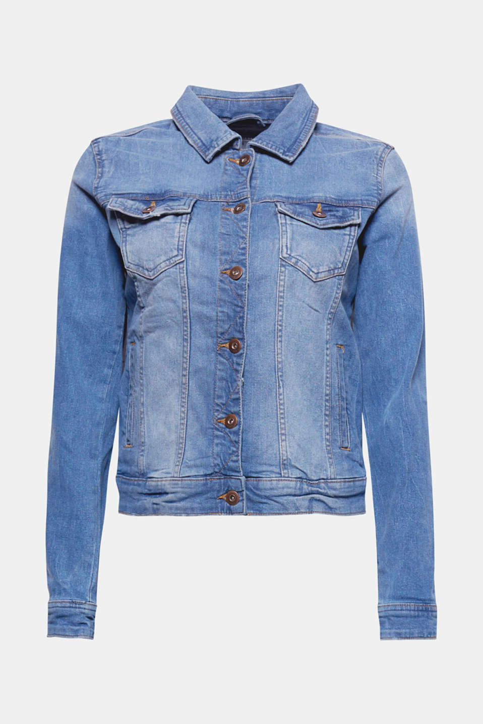 This denim jacket with added stretch for comfort in a casual finish is a versatile must-have basic.