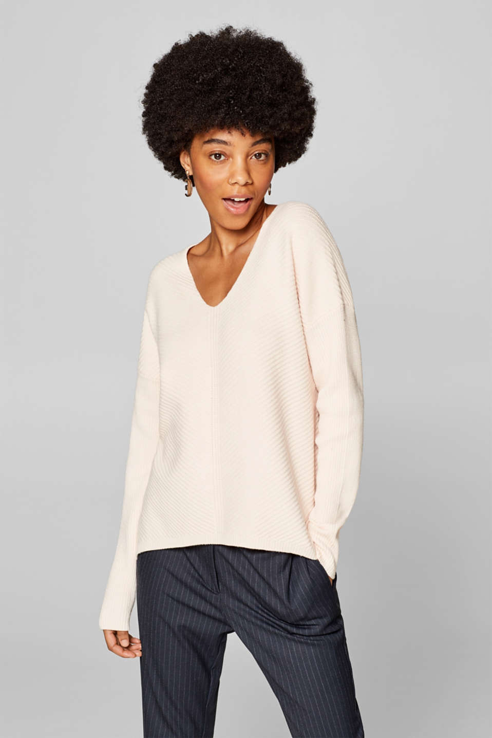 edc - V-neck jumper with a ribbed texture