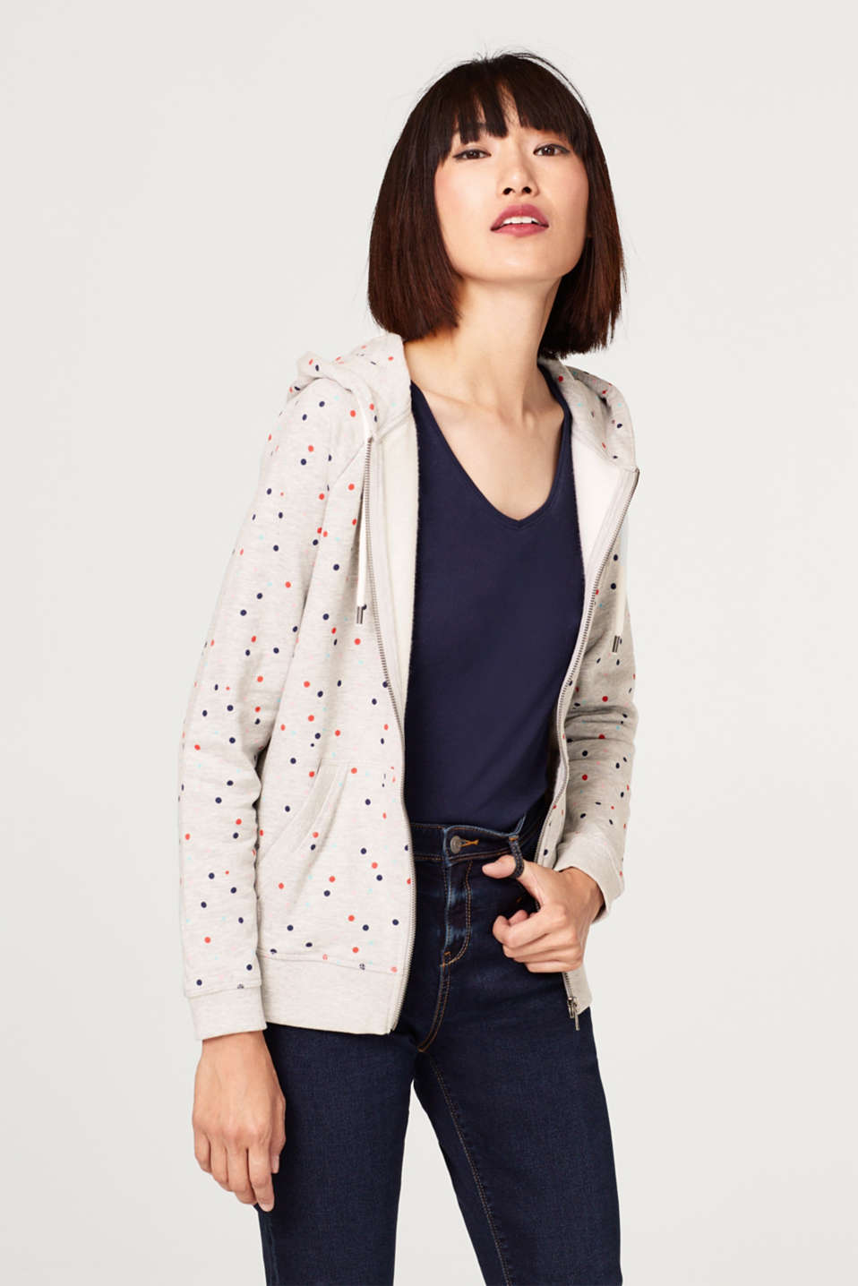 edc - Sweatshirt cardigan with a polka dot print