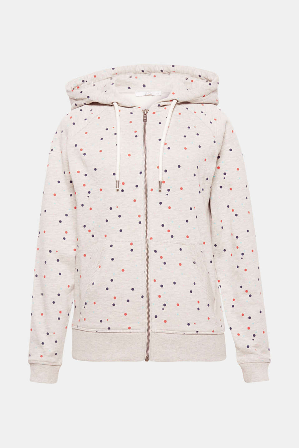We love polka dots! This fluffy, soft cardigan with a hood contains lots of bright polka dots, which creates a wonderful contrast against the melange sweatshirt fabric.
