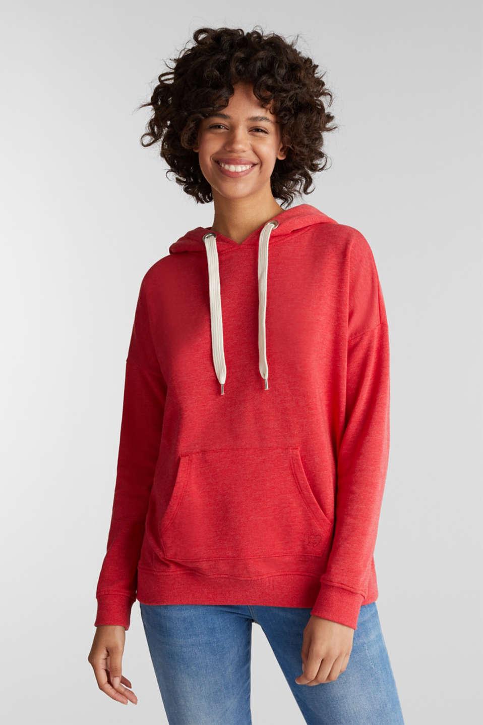 Melange hoodie with wide drawstring ties