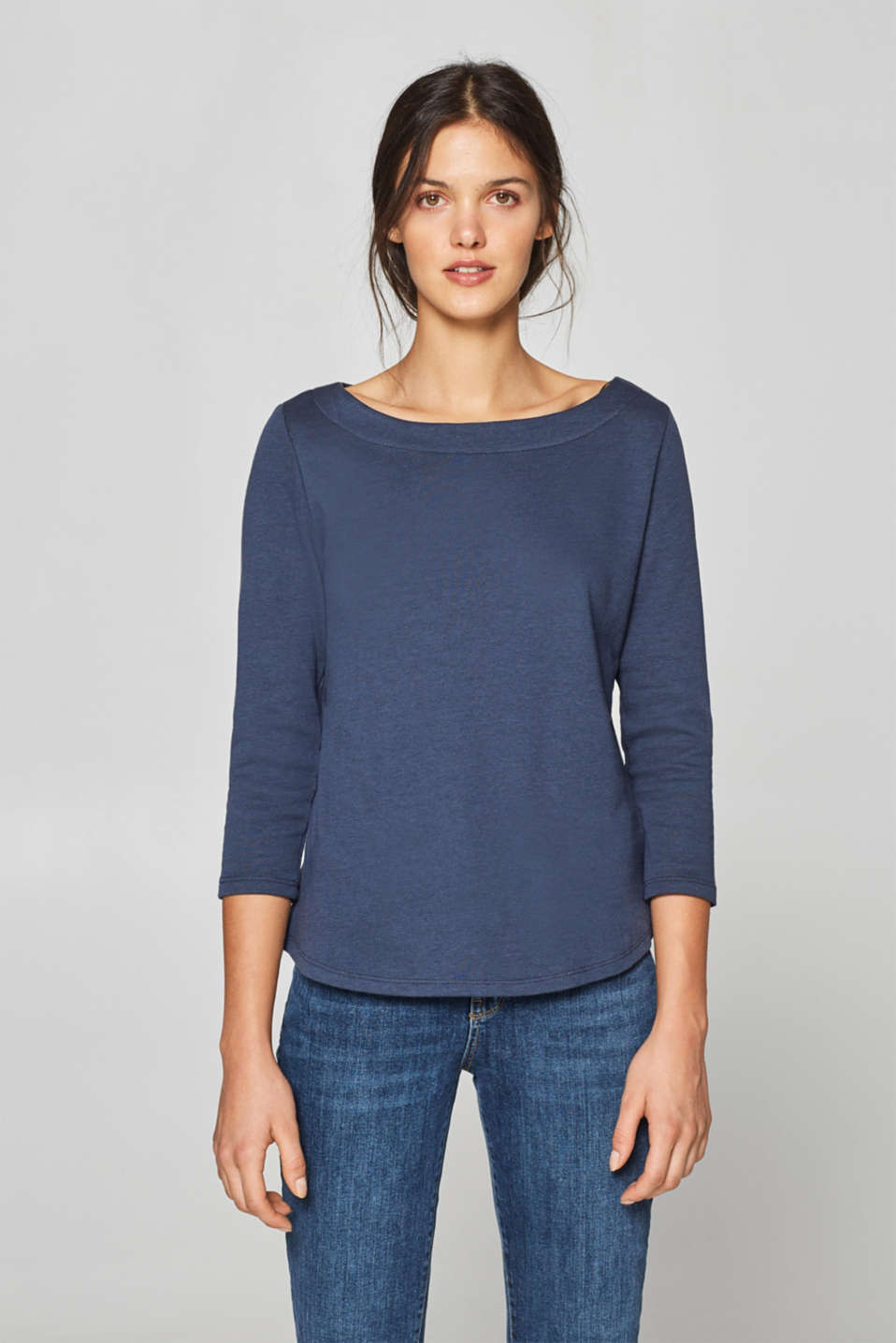 edc - Textured long sleeve top with bow detail