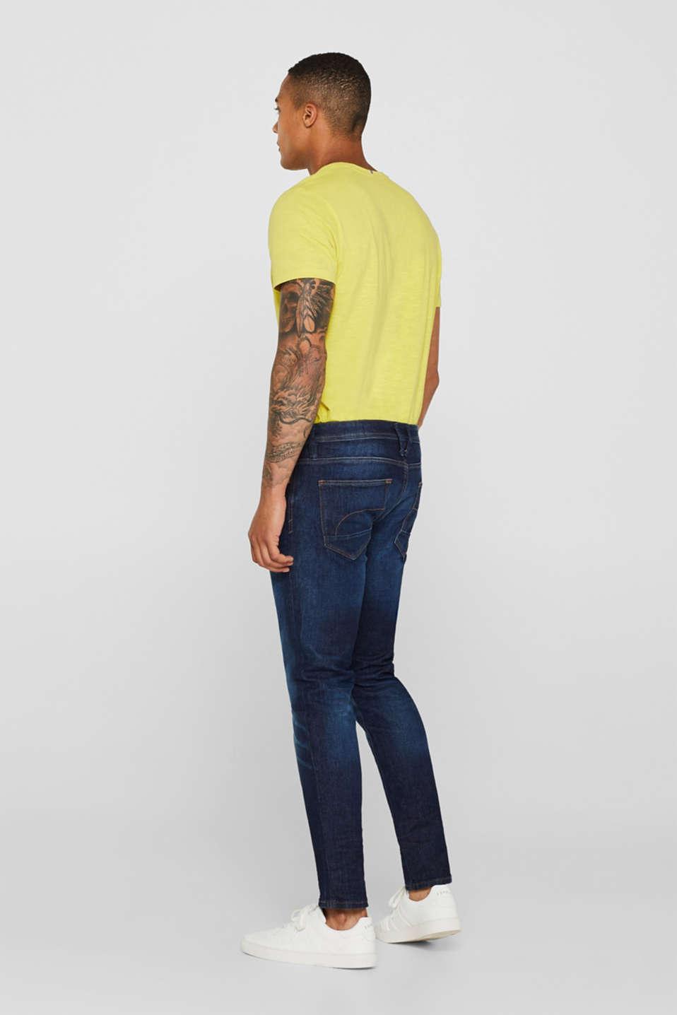 Vintage wash stretch jeans, BLUE DARK WASH, detail image number 1