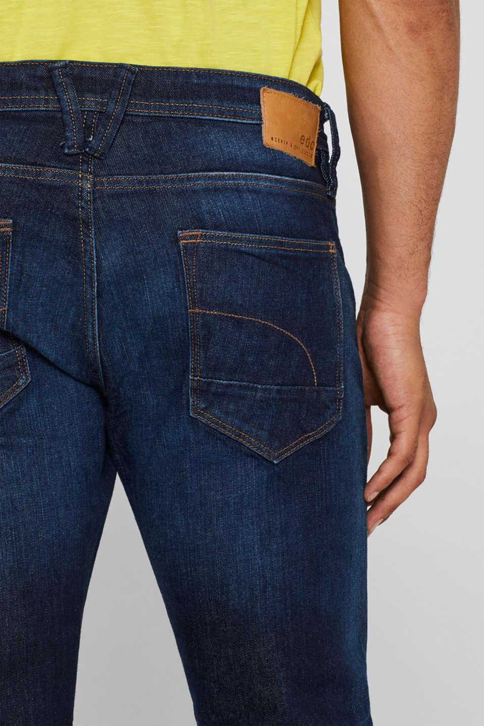 Vintage wash stretch jeans, BLUE DARK WASH, detail image number 3