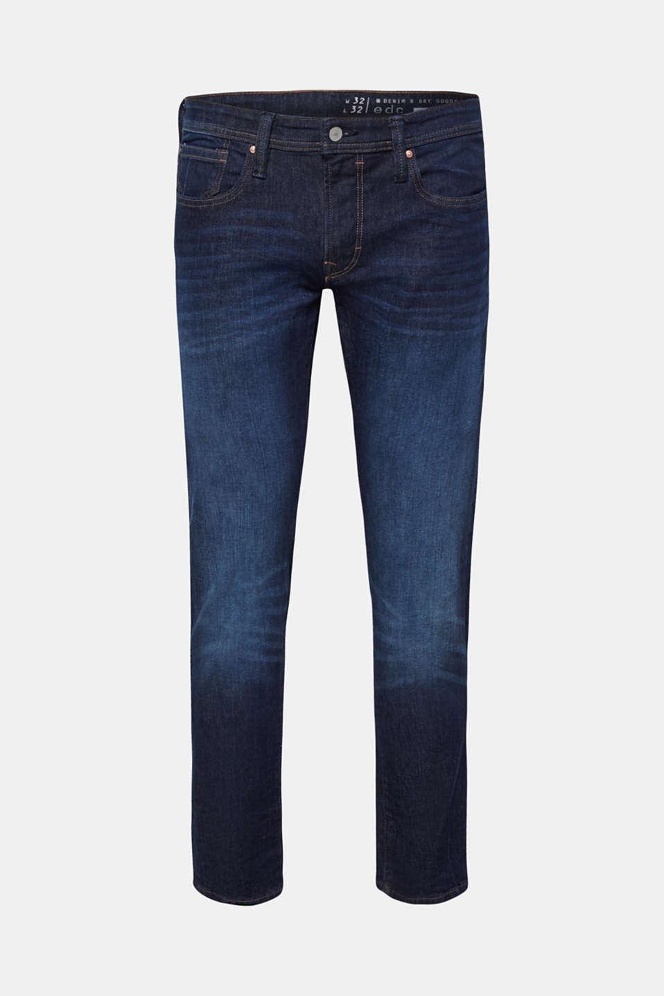 Vintage wash stretch jeans, BLUE DARK WASH, detail image number 6