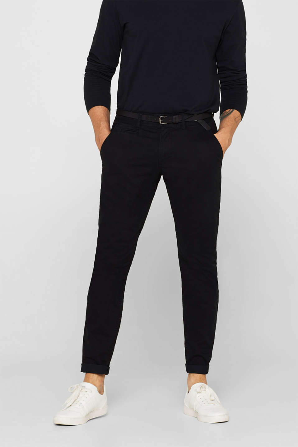 Stretch chinos with a faux leather belt, BLACK, detail image number 0