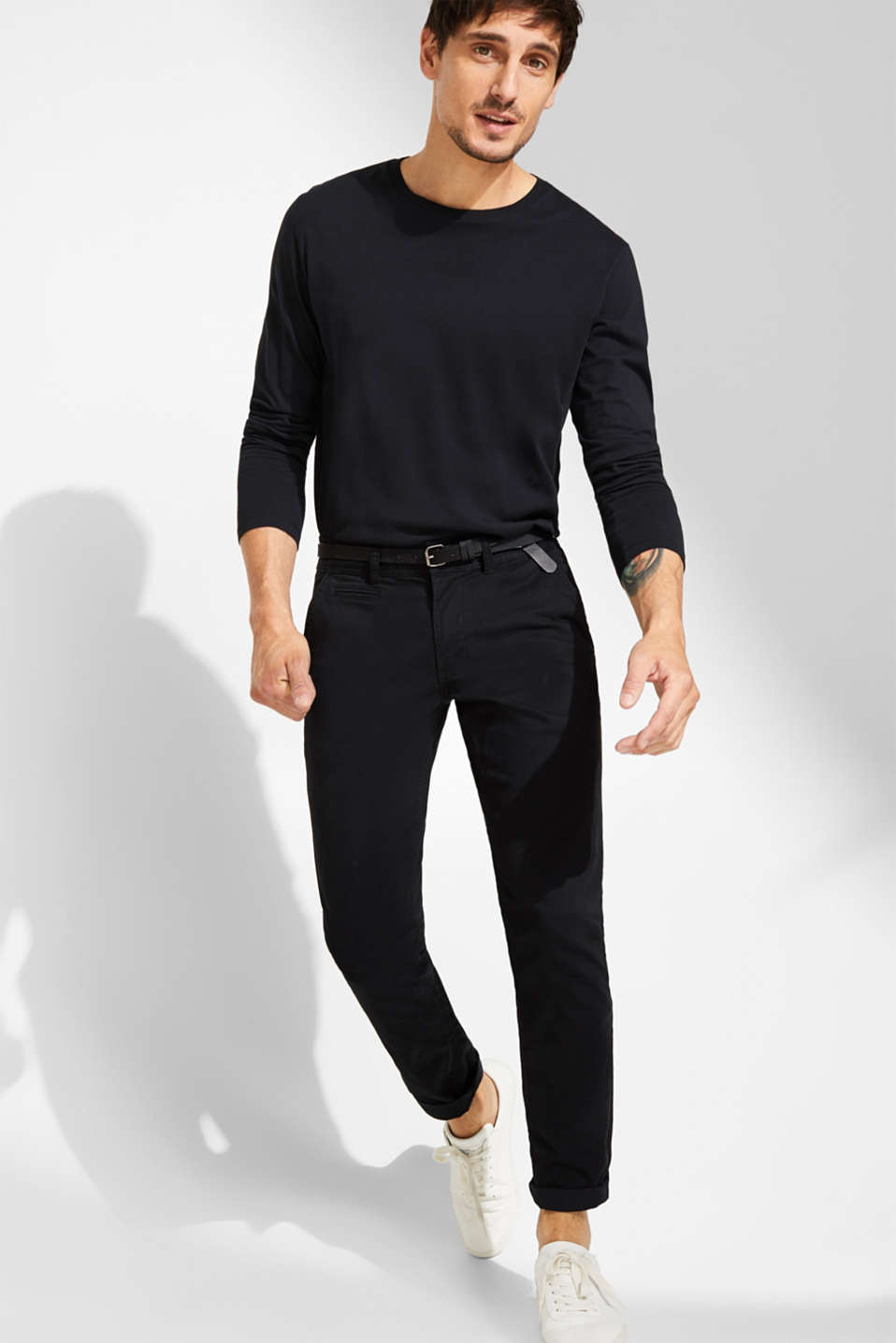 Stretch chinos with a faux leather belt, BLACK, detail image number 1