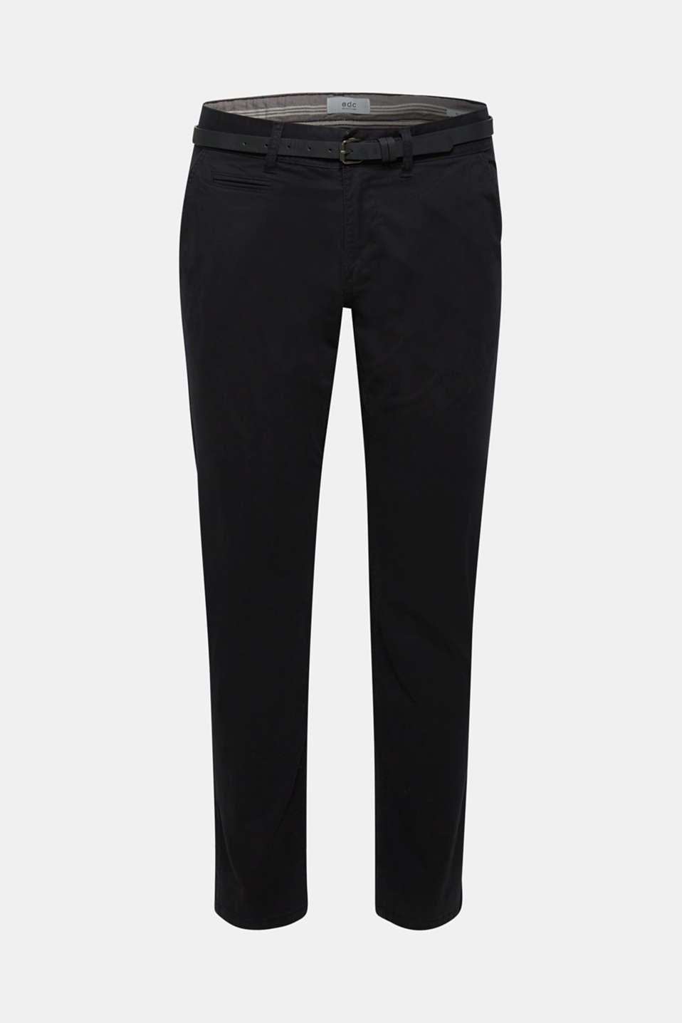 Stretch chinos with a faux leather belt, BLACK, detail image number 5