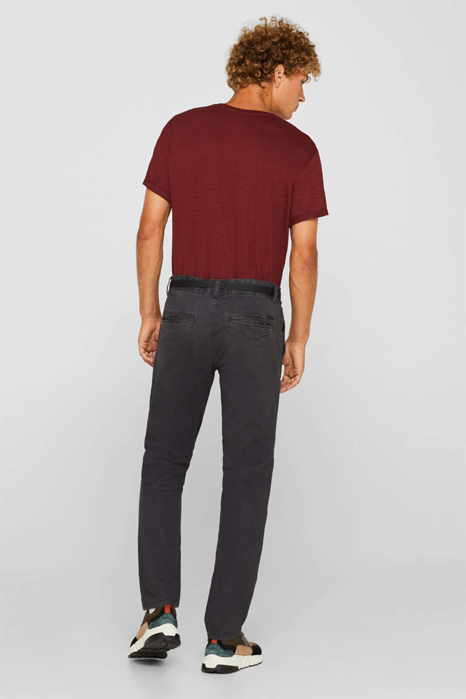 Stretch chinos with a faux leather belt, ANTHRACITE, detail image number 3