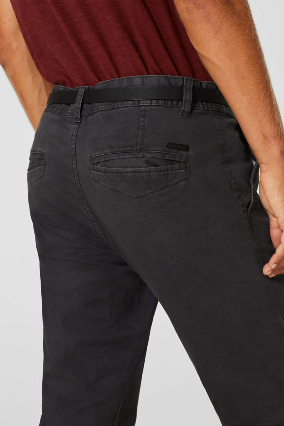 Stretch chinos with a faux leather belt, ANTHRACITE, detail image number 2