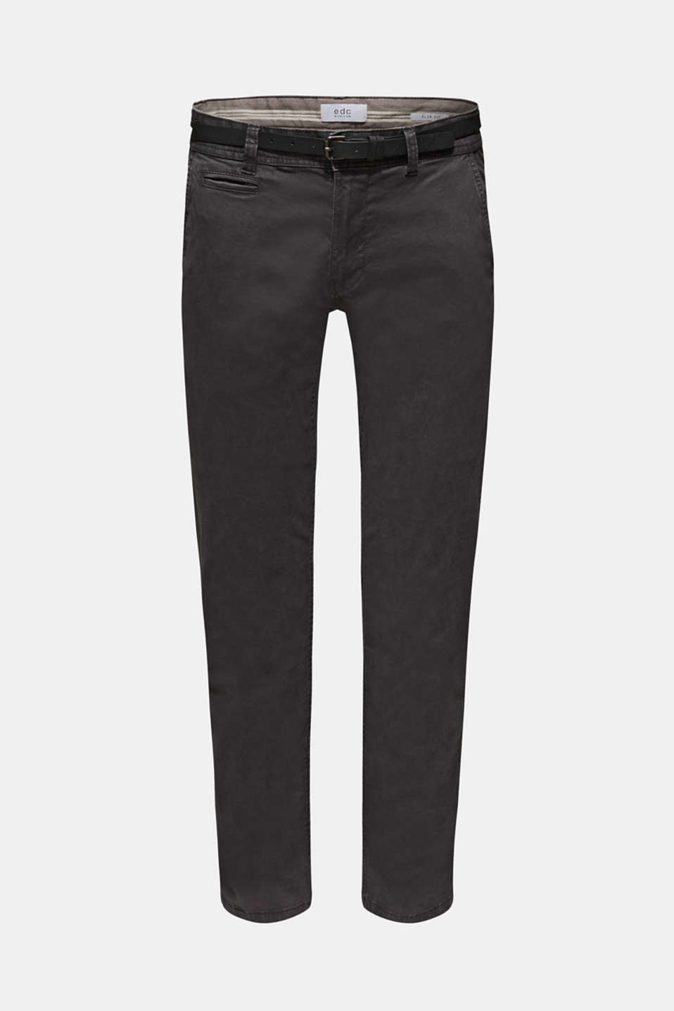 Stretch chinos with a faux leather belt, ANTHRACITE, detail image number 5