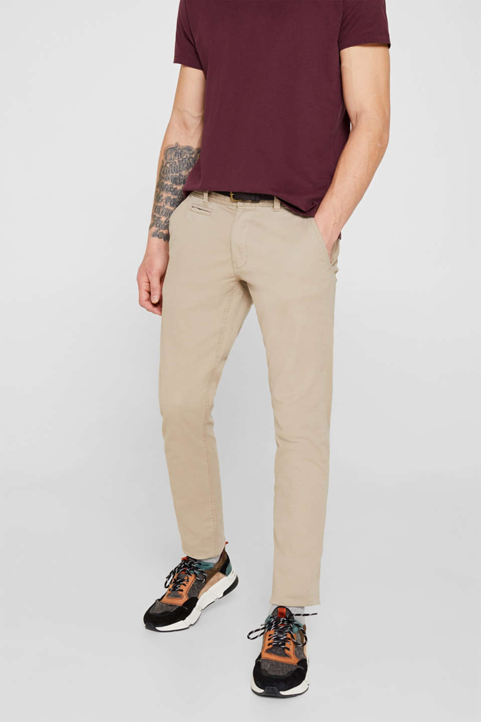 edc - Stretch chinos with a faux leather belt