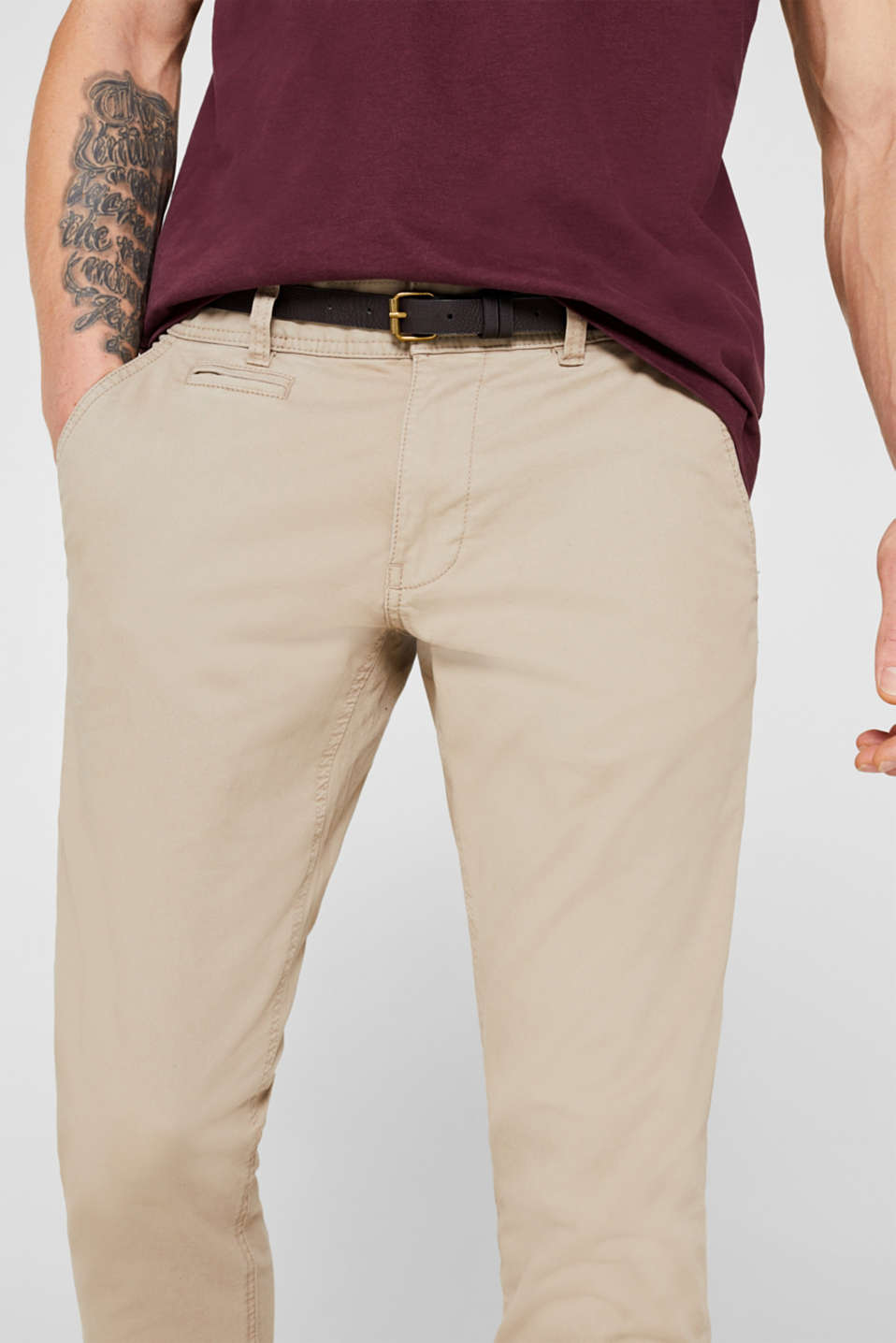 Stretch chinos, LIGHT BEIGE, detail image number 2