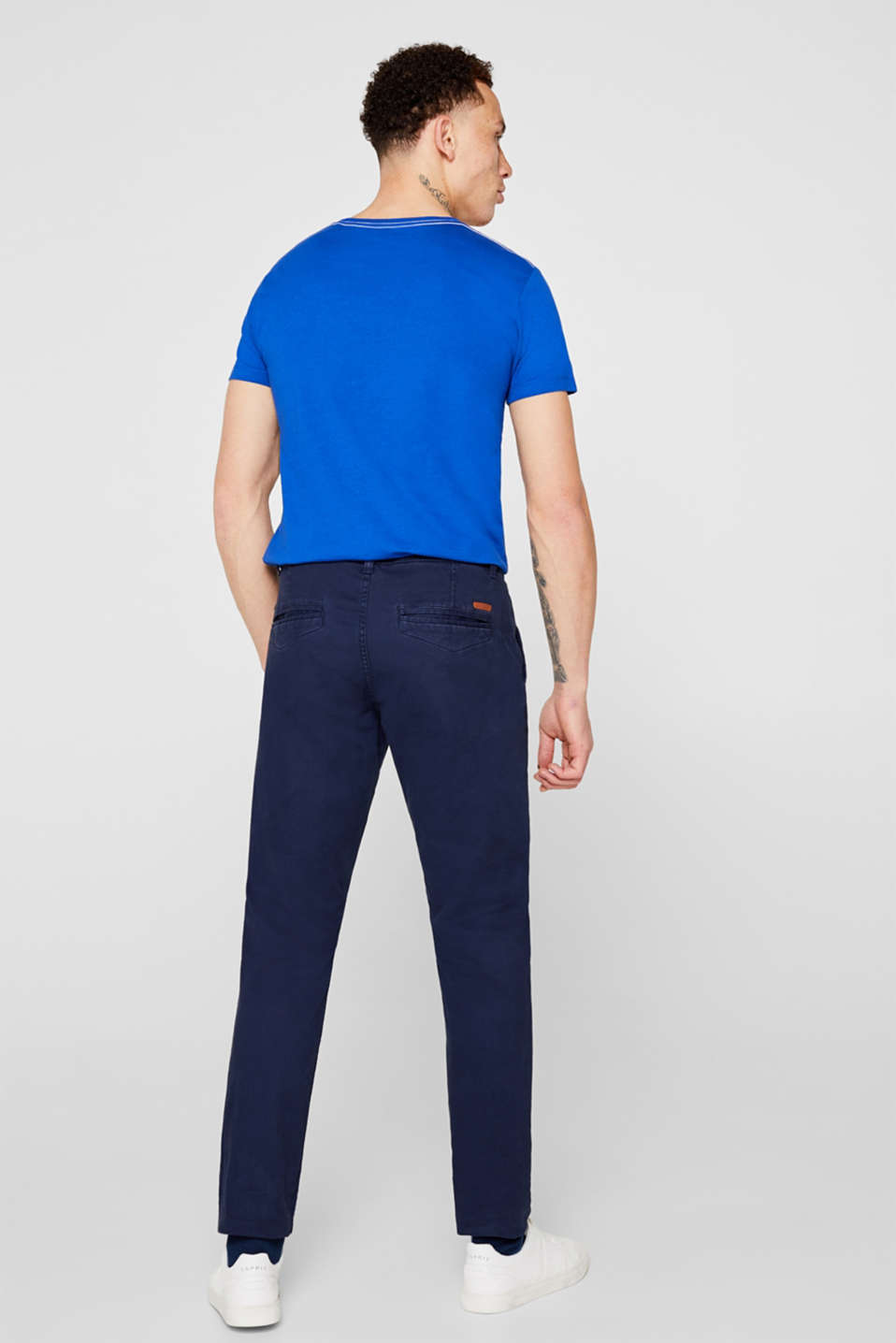 Stretch chinos with a faux leather belt, NAVY, detail image number 3
