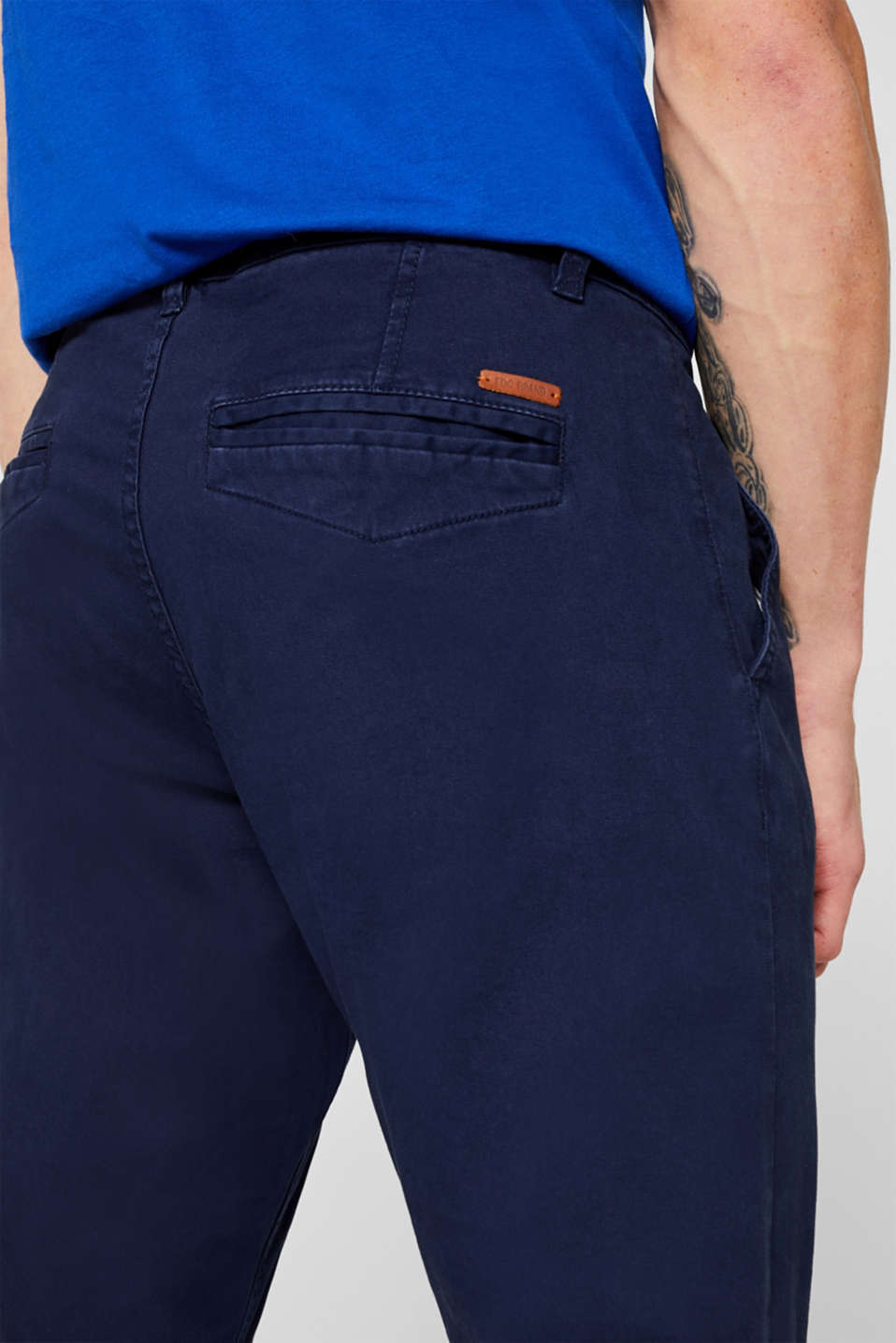 Stretch chinos with a faux leather belt, NAVY, detail image number 2